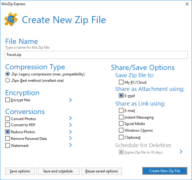 WinZip Express used for resizing