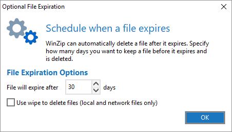 Configure the Optional File Expiration dialog