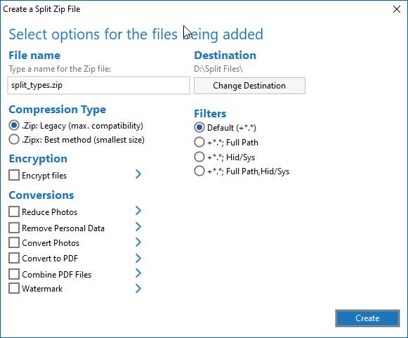 Choose options for your split Zip file