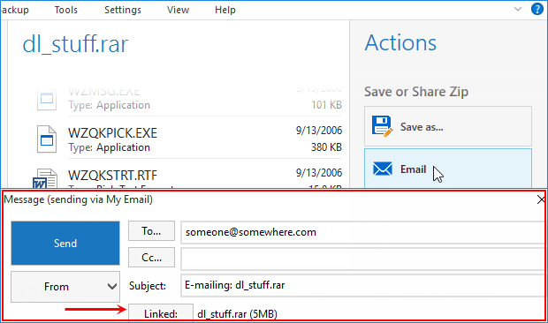 RAR file open in WinZip and Email button clicked