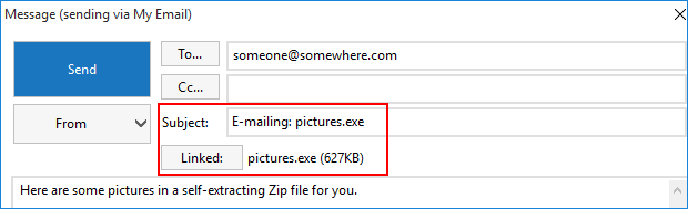 Email sharing a self-extracting Zip file