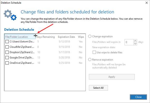Click Deletion Schedule on the Settings tab