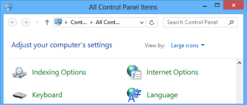 Open Internet Options from the Control Panel