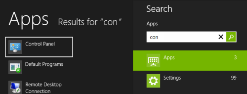 Windows 8 search for Control Panel