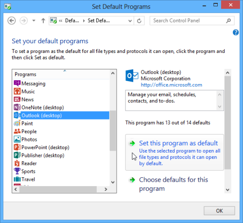 Choose your default email program in Windows 7