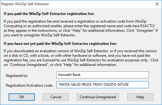 Register WinZip Self-Extractor
