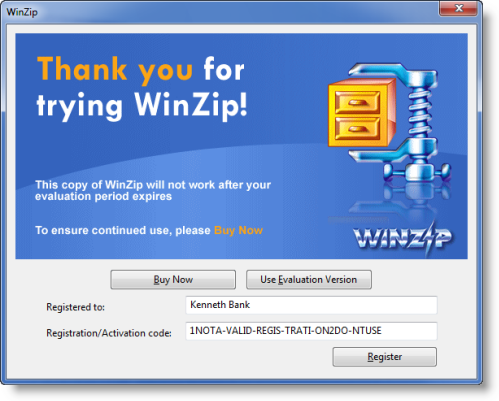 purchase winzip but never installed it. I have my order number,