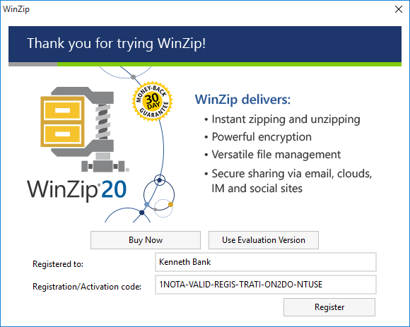 WinZip Registration Reminder dialog