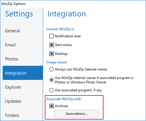 WinZip Associated with Archives