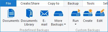 Backup tab