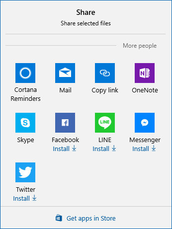 Share dialog displaying Windows Charms