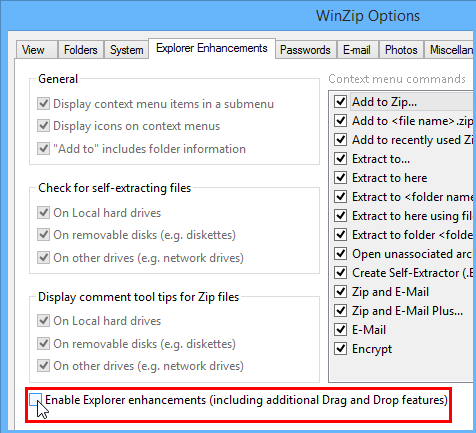 Check box to enable the shell extension