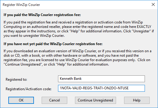 WinZip Courier Registration Dialog