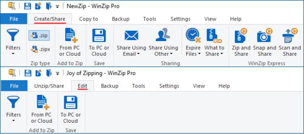 Create/Share (Edit) tab - WinZip Ribbon