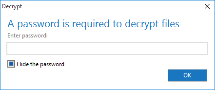 The Decrypt dialog requesting a password