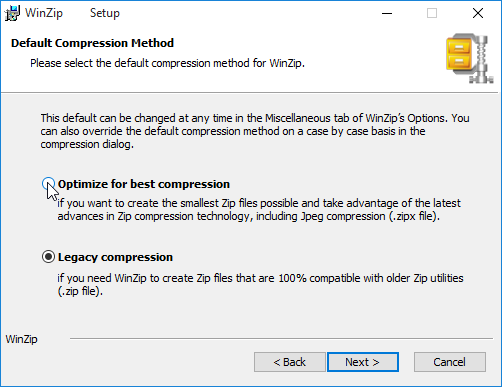 Choosing a Default Compression Method - Installing WinZip