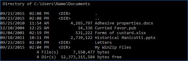 DIR command - contents of drive C