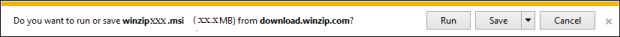 Internet Explorer download prompt showing file size