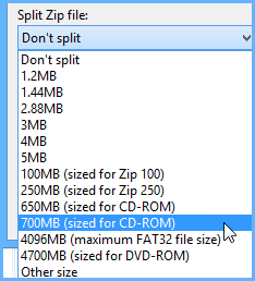 Split Zip file size selection after right clicking