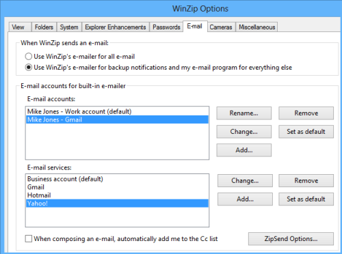 E-Mail tab in the WinZip Options dialog