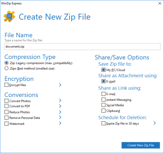 WinZip Express for Office dialog