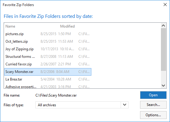 Favorite Zip Folders Dialog