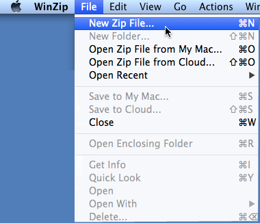 Choose New Zip File on the File menu