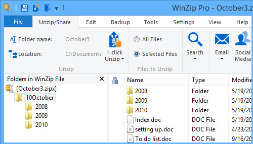 October3.zipx contains the folder itself along with files and subfolders