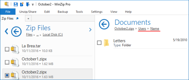 October2.zipx contains full folder information (up to the drive letter)