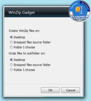 WinZip Gadget Options