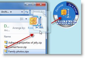 Drop a Zip file on the WinZip Gadget to unzip it