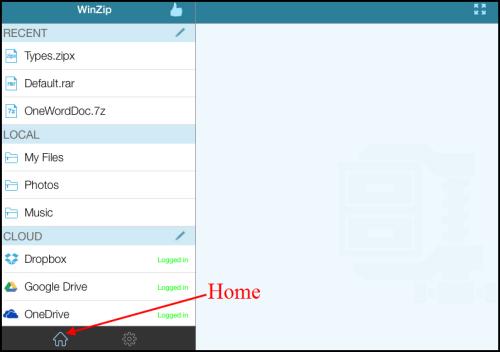 WinZip for iOS Home menu