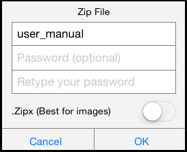 Zip File opens after tapping the Zip Here button