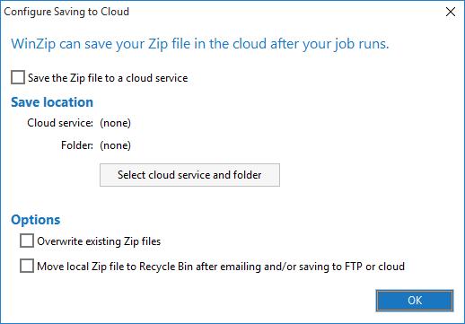 WinZip Job Cloud dialog