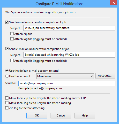 WinZip Job Configure E-Mail dialog