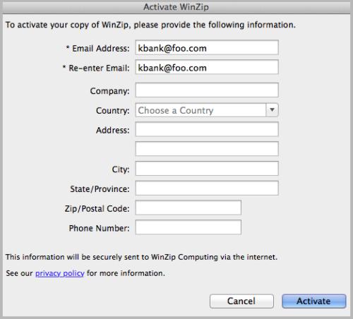 Activate WinZip screen