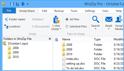 October1.zipx only contains files and subfolders