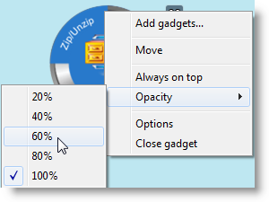 Configure Opacity for a gadget