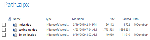 Files in the Zip file pane showing path information