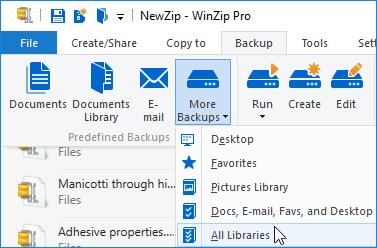 WinZip Pro Jobs menu