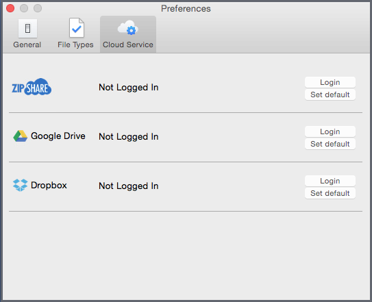 The Preferences dialog - Cloud Service