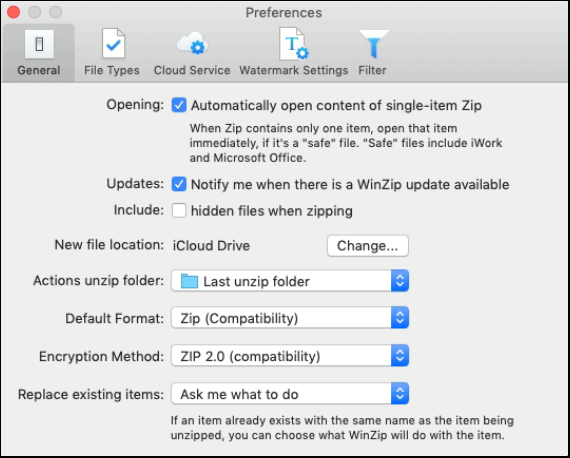 WinZip for Mac, Configuring Preferences - WinZip - Knowledgebase