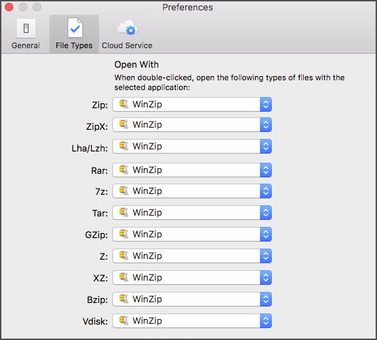 The Preferences dialog - File Types