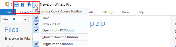 Quick Access Toolbar with default icons