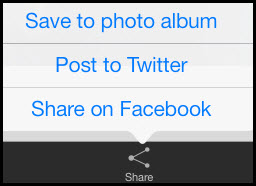 Use the Share button to save photos in Zip files