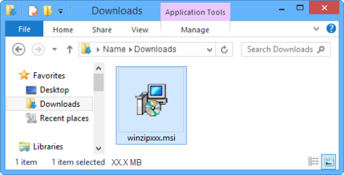 An open folder window with winzipxxx.msi selected
