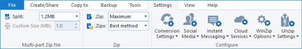Settings tab - WinZip Ribbon