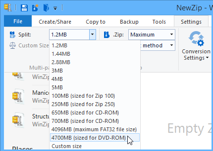 Settings tab showing Split Zip file size options