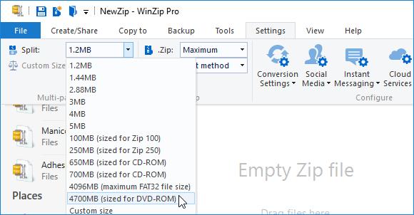 Settings tab showing Split Zip file size options