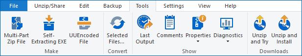 Tools tab - WinZip Ribbon
